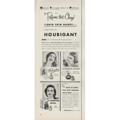 "1953 Houbigant Ad ""Perfume that Clings"""