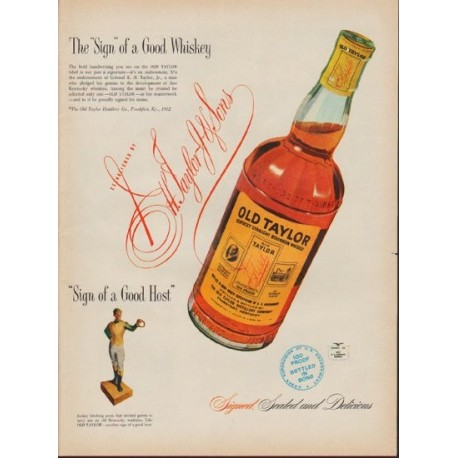 "1953 Old Taylor Ad ""The ""Sign"" of a Good Whiskey"""