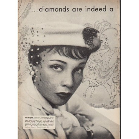 "1953 Ballantine Ale Ad ""Girl's best friend"""