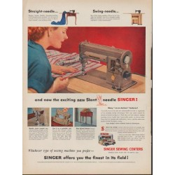 "1953 Singer Sewing Machine Ad ""exciting new Slant needle"""