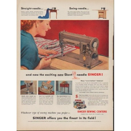 40 Singer Sewing Machine Vintage Ad Exciting New Slant Needle Classy 1953 Singer Sewing Machine
