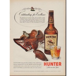 "1953 Hunter Whiskey Ad ""Outstanding for Excellence"""