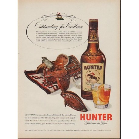 """1953 Hunter Whiskey Ad """"Outstanding for Excellence"""""""