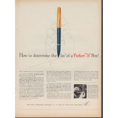"1953 Parker Pens Ad ""How to determine the ""sex"""""