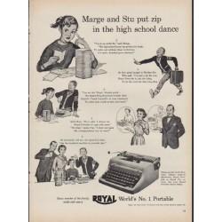 """1953 Royal Typewriter Ad """"Marge and Stu"""""""