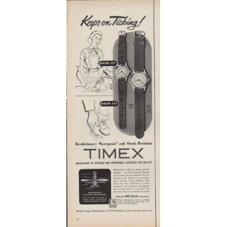 """1953 Timex Ad """"Keeps on Ticking!"""""""