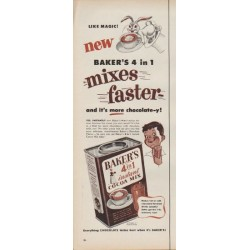 "1953 Baker's Cocoa Ad ""Like Magic!"""