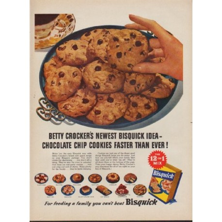 """1953 Bisquick Ad """"Chocolate Chip Cookies"""""""