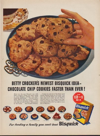 "Quick Ads For Beauty Product Blusher Oneminutebriefs: 1953 Bisquick Vintage Ad ""Chocolate Chip Cookies"""