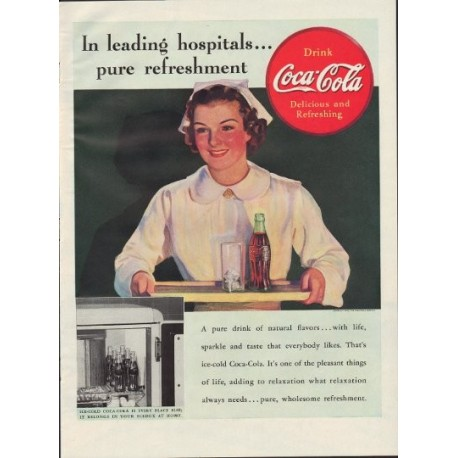 "1938 Coca-Cola Ad ""In Leading Hospitals"""