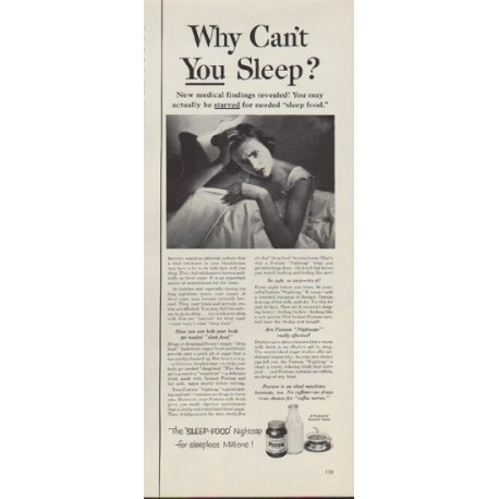 "1953 Postum Ad ""Why Can't You Sleep?"""