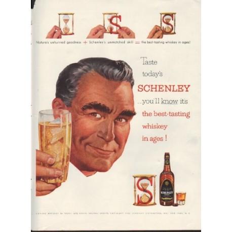 """1953 Schenley Whiskey Ad """"best-tasting whiskey"""""""