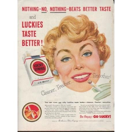 """1953 Lucky Strike Ad """"Nothing Beats Better Taste"""""""