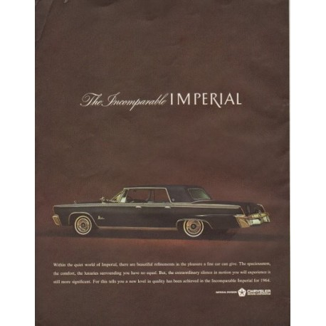 """1964 Chrysler Ad """"The Incomparable Imperial"""""""