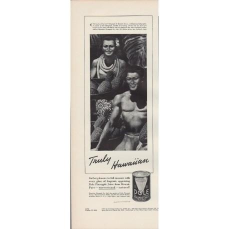 "1938 Dole Pineapple Juice Ad ""Hawaiian"""