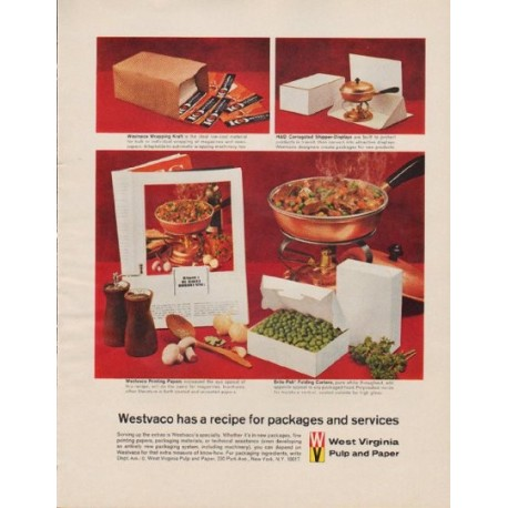 "1963 Westvaco Ad ""recipe for packages and services"""