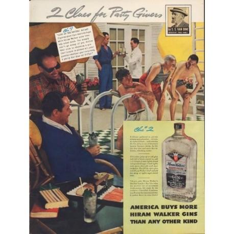 """1938 Hiram Walker Gin Ad """"S. S. Van Dine"""""""