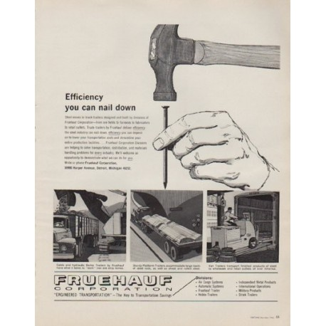 """1963 Fruehauf Corporation Ad """"Efficiency you can nail down"""""""