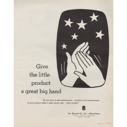 "1963 Leo Burnett Company Ad ""a great big hand"""