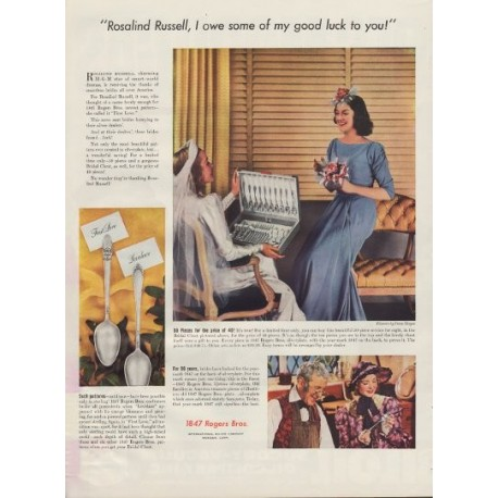 "1938 International Silver Ad ""Rosalind Russell"""