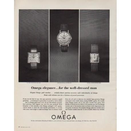 "1963 Omega Watches Ad ""Omega elegance"""