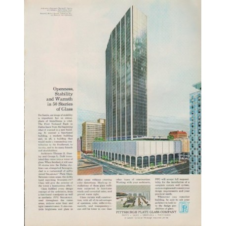 """1963 Pittsburgh Plate Glass Company Ad """"Openness, Stability"""""""