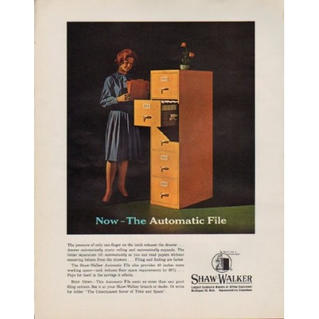 """1963 Shaw-Walker Ad """"Now -- The Automatic File"""""""