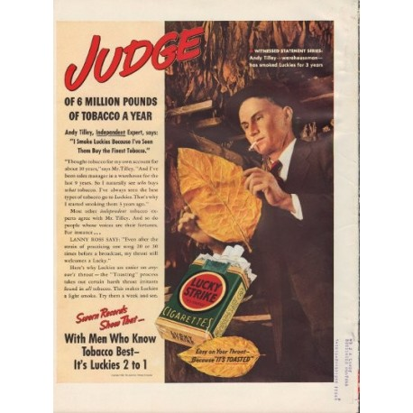 "1938 Lucky Strike Cigarettes Ad ""Andy Tilley"""