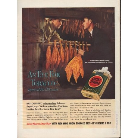 "1938 Lucky Strike Cigarettes Ad ""Ray Oglesby"""