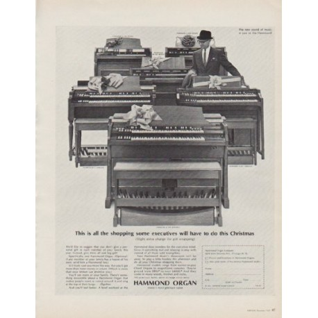 "1963 Hammond Organ Ad ""This is all the shopping"""