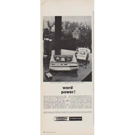 "1963 SONY Ad ""word power!"""