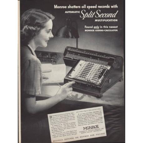 "1938 Monroe Adding-Calculator Ad ""Speed Records"""