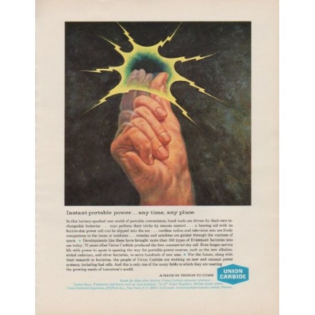 "1963 Union Carbide Ad ""Instant portable power"""