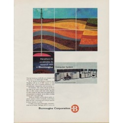 "1963 Burroughs Corporation Ad ""Marathon Oil"""