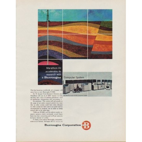 "1963 Burroughs Corporation Ad ""Marathon Oil"""