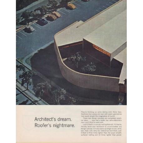 """1963 Johns-Manville Ad """"Architect's dream."""""""