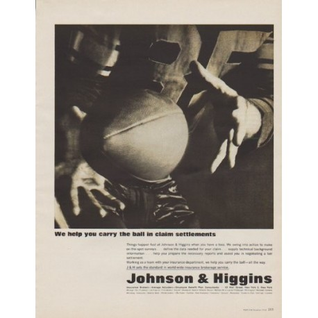 """1963 Johnson & Higgins Ad """"We help you carry the ball"""""""