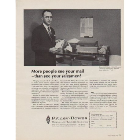 """1963 Pitney-Bowes Ad """"More people"""""""