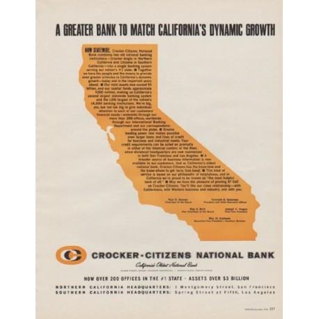 "1963 Crocker-Citizens National Bank Ad ""A Greater Bank"""