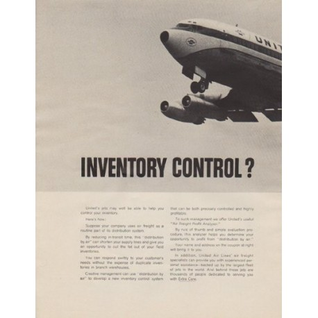 "1963 United Air Lines Ad ""Inventory Control?"""