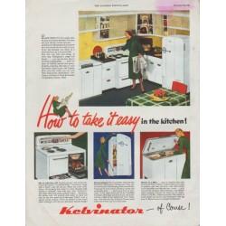 "1948 Kelvinator Ad ""take it easy"""