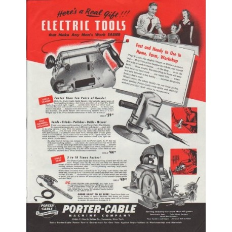 "1948 Porter-Cable Ad ""Here's a Real Gift"""