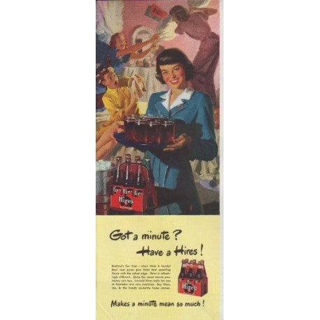 """1948 Hires Root Beer Ad """"Got a minute ?"""""""
