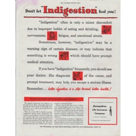 "1948 Metropolitan Life Insurance Company Ad ""Indigestion"""