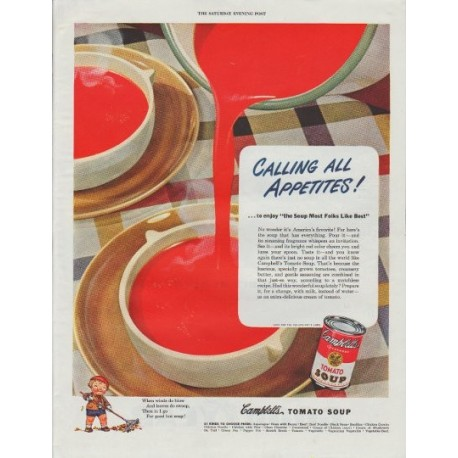 "1948 Campbell's Soup Ad ""Calling All Appetites"""