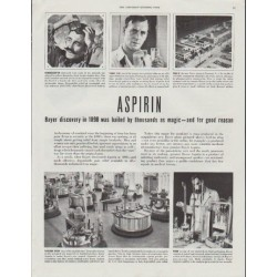 "1948 Bayer Aspirin Ad ""hailed by thousands as magic"""