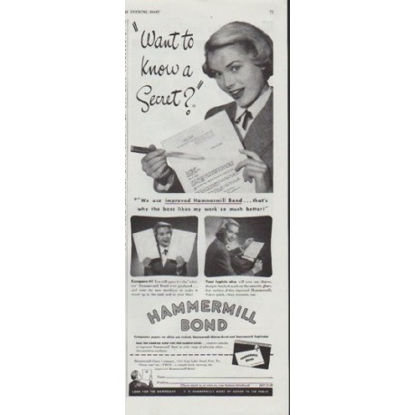 """1948 Hammermill Bond Ad """"Want to know a Secret?"""""""