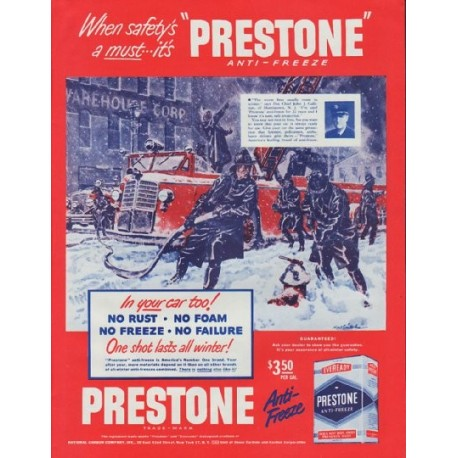 "1948 Prestone Ad ""When safety's a must"""