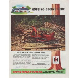 "1948 International Harvester Ad ""Housing Begins Here"""