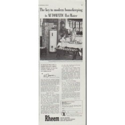 "1948 Rheem Ad ""The key to modern housekeeping"""